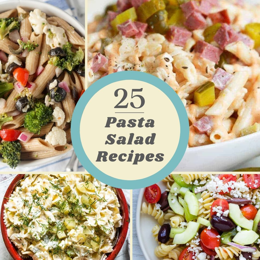 square collage of pasta salad recipes with title in the middle