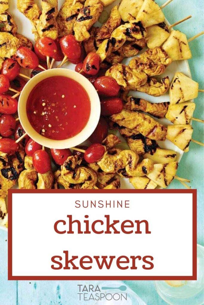 Grilled Sunshine Chicken Skewers Pinterest Pin