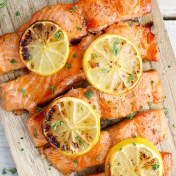 Salmon on a creme colored platter