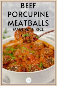 oven baked porcupine meatballs pin
