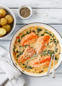 Salmon in a big serving bowl