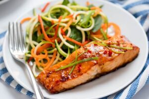 Salmon plated on white plate