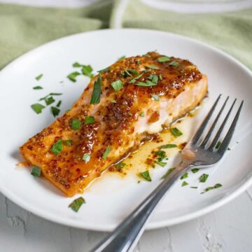salmon on white plate