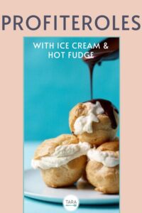 profiteroles with ice cream and hot fudge pin