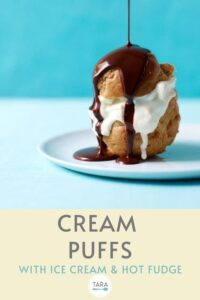 profiteroles with hot fudge ice cream pin