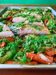 Salmon Veggies On Sheet