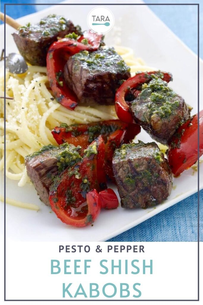 pin for pesto and pepper beef shish kabobs with pasta