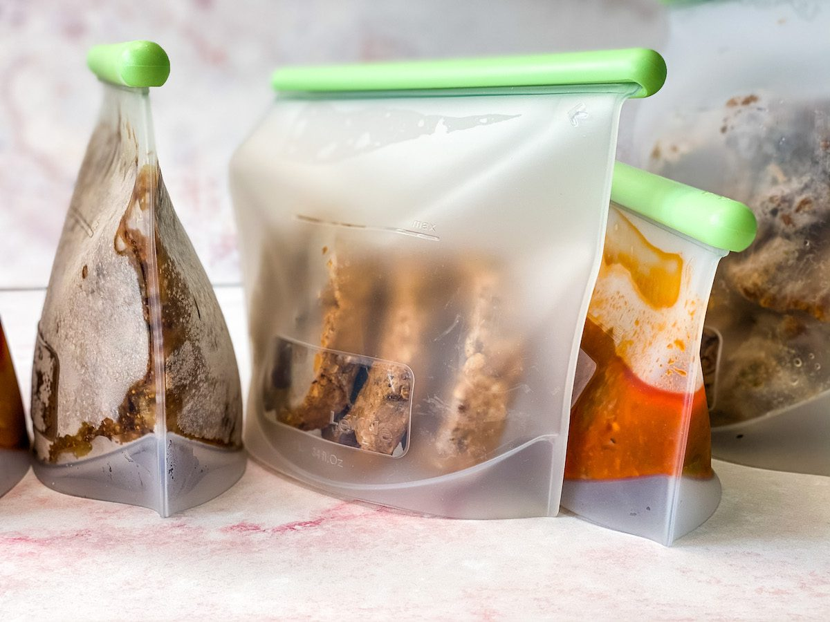 silicone bags with frozen food inside