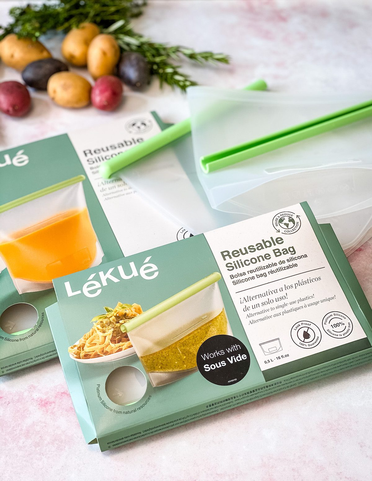 Lekue silicone bags in product packaging