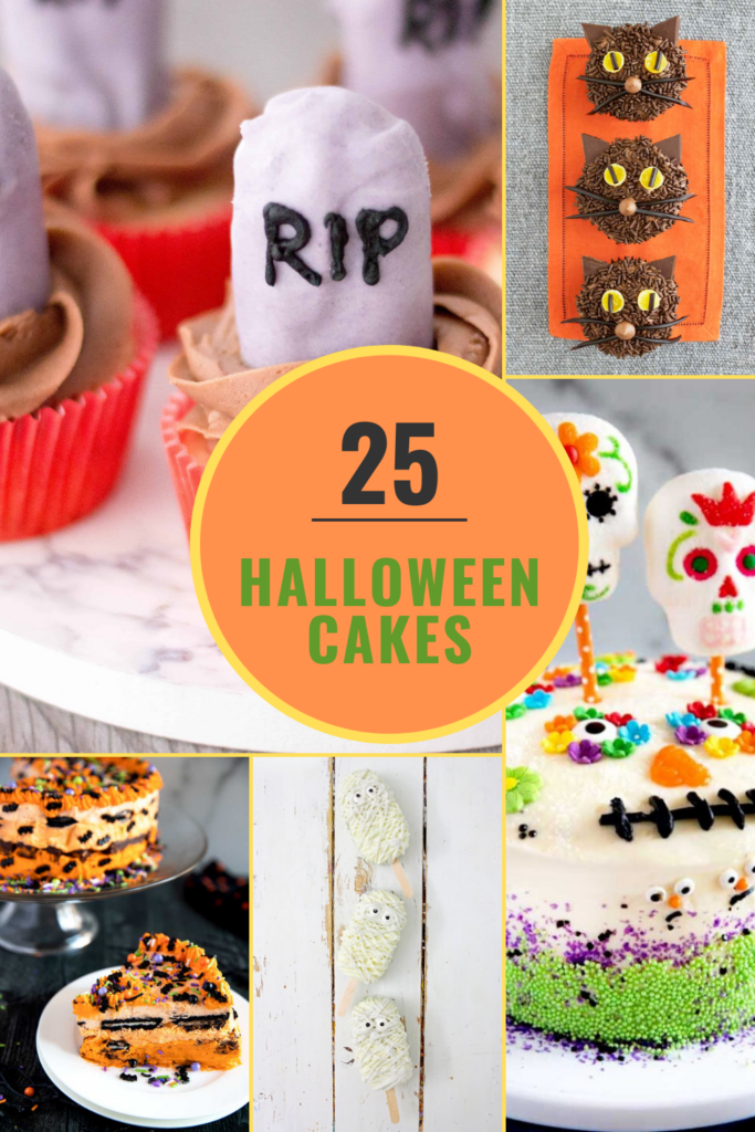halloween cakes collage pin image