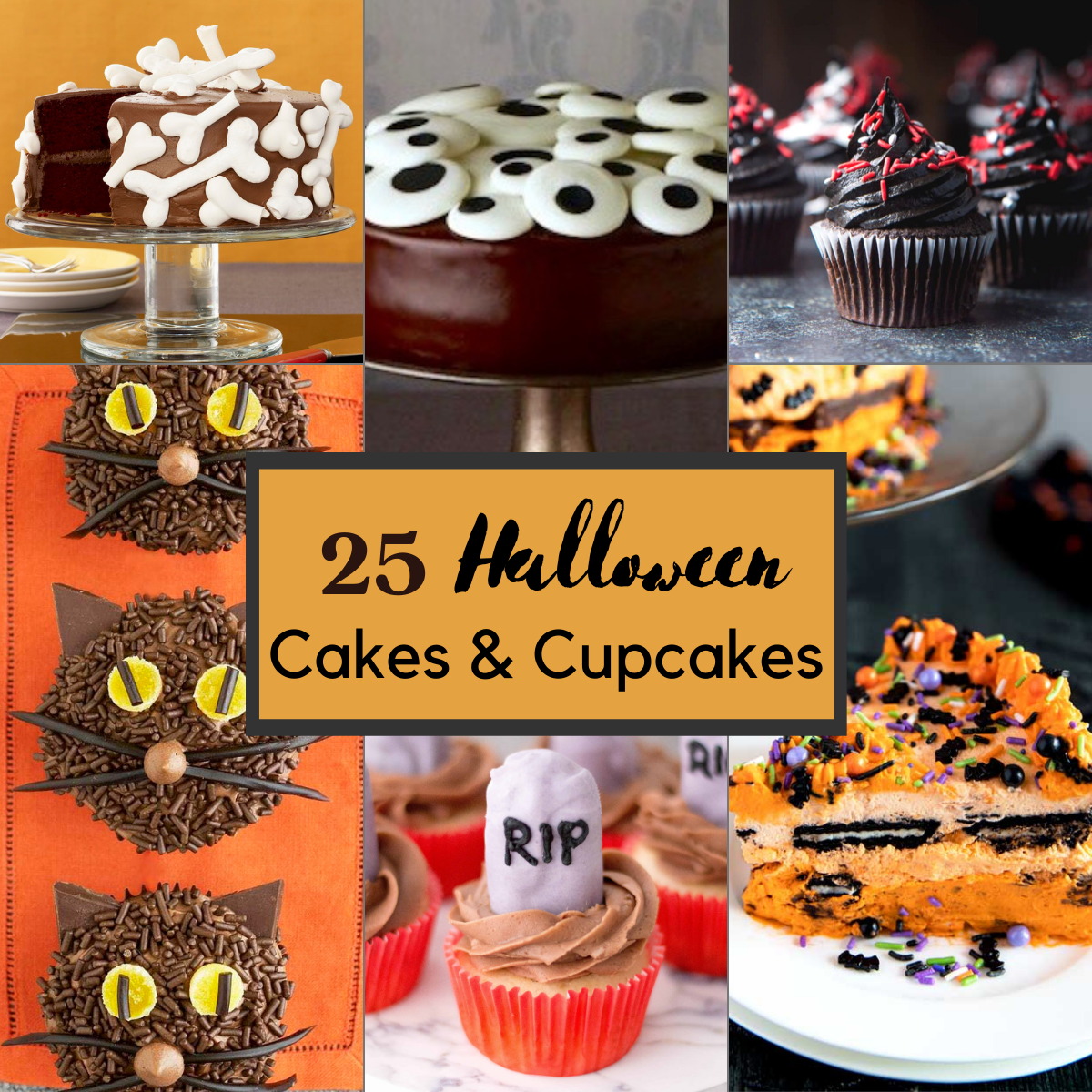 feature collage image of halloween cakes and cupcakes