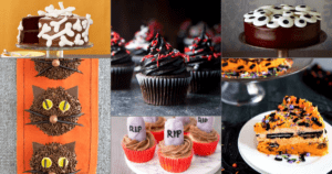 collage image of Halloween cakes and cupcakes