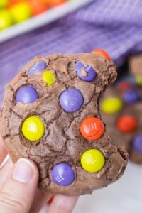 chocolate m&m cookies for Halloween