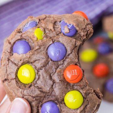 chocolate m&m cookies for Halloween