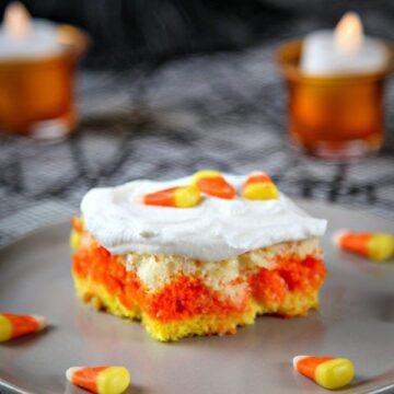 candy corn sheet cake slice
