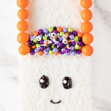 trick or treat bag cake iced like a ghost