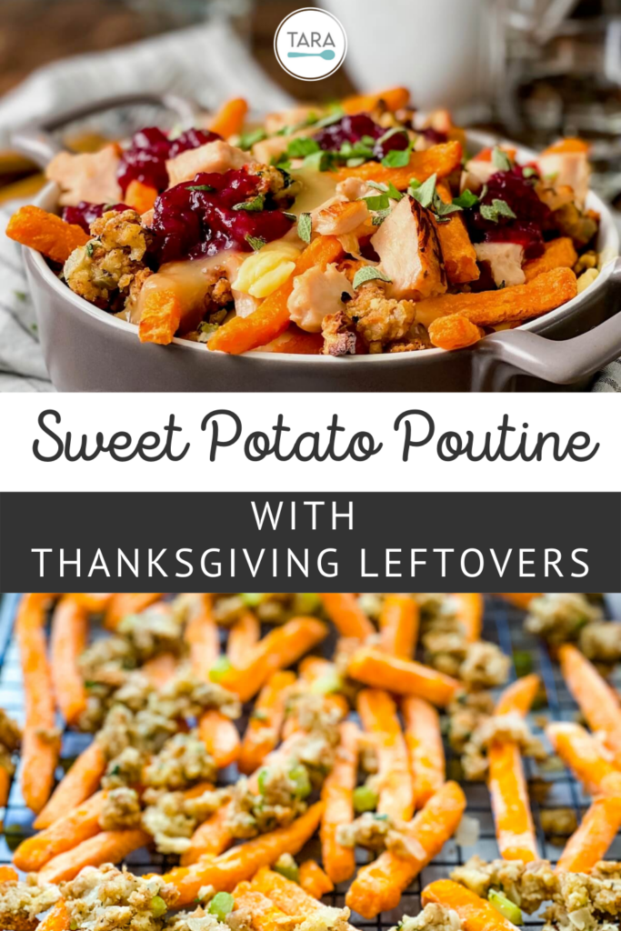 poutine with Thanksgiving leftovers in a crock dish