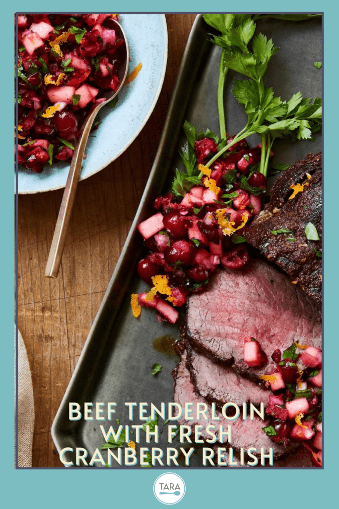 beef tenderloin with cranberry sauce pin