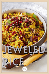 jeweled rice with spices and pomegranates pin