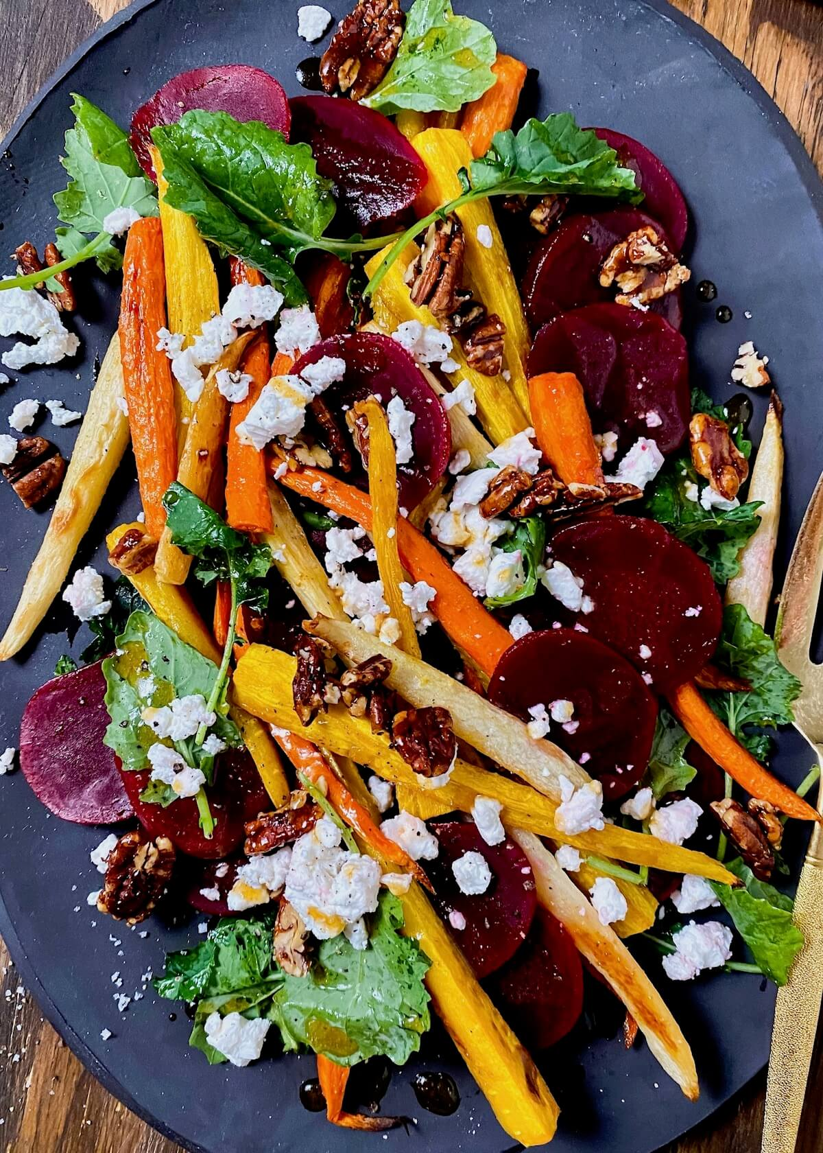 pickled beets with roasted carrots and candied pecans