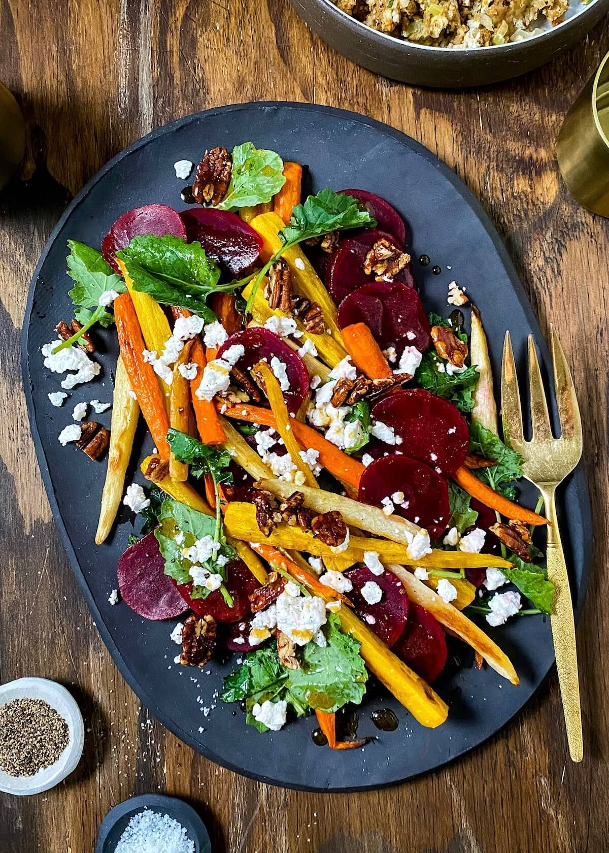 roasted carrots with beets and kale
