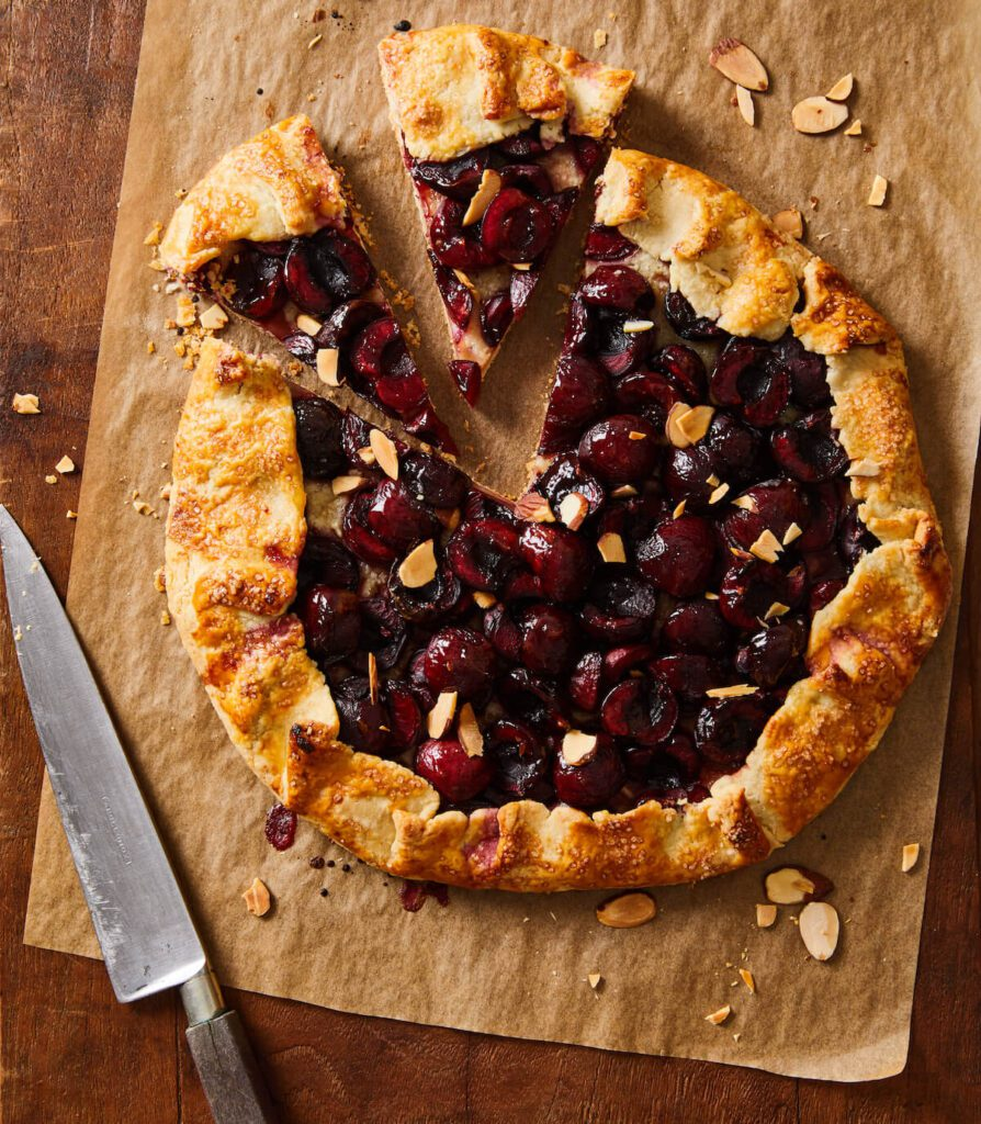 cherry crostata with slices cut out