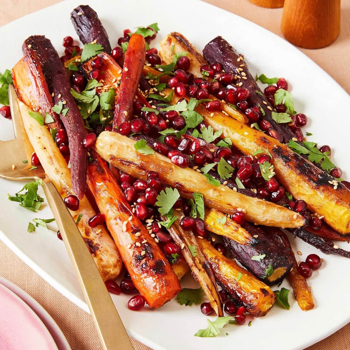 roasted miso carrots on white platter