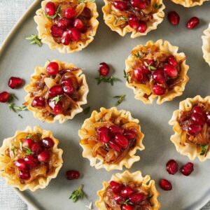 caramelized onion tartlets with pomegranates