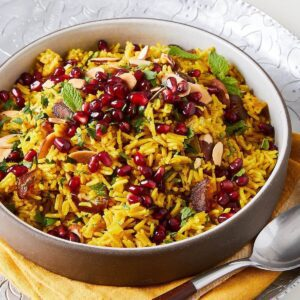 Yellow jeweled rice with pomegranates and dates