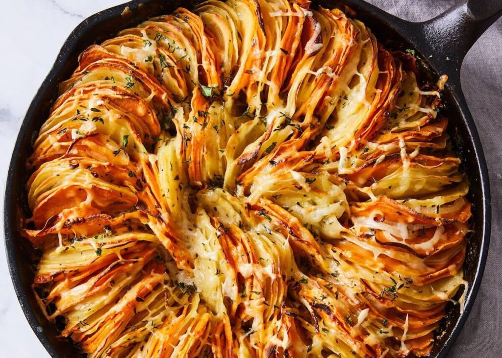 potato gratin with two kinds of potatoes