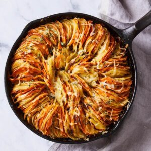 sweet potato and yukon gold gratin
