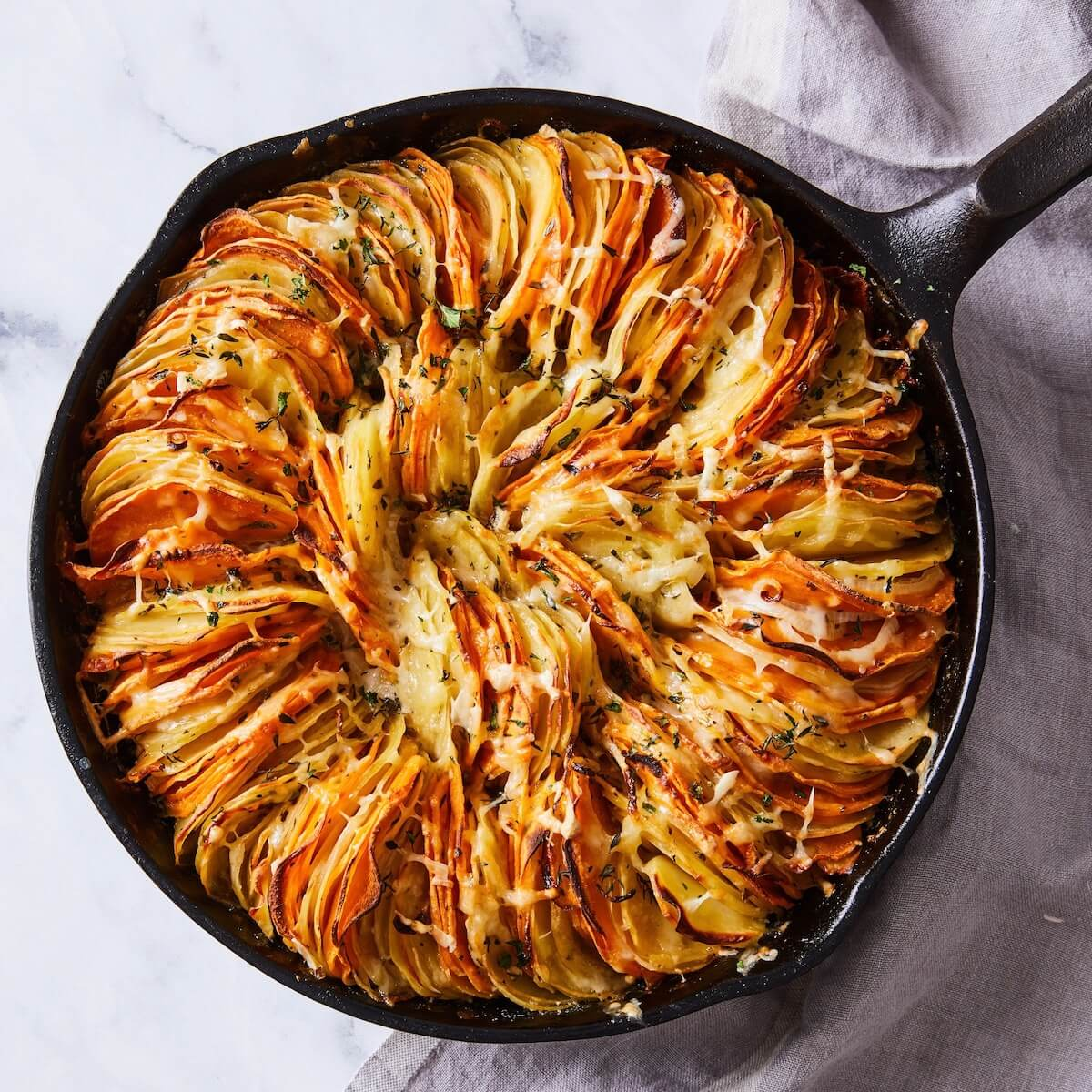 sweet potato and yukon gold gratin