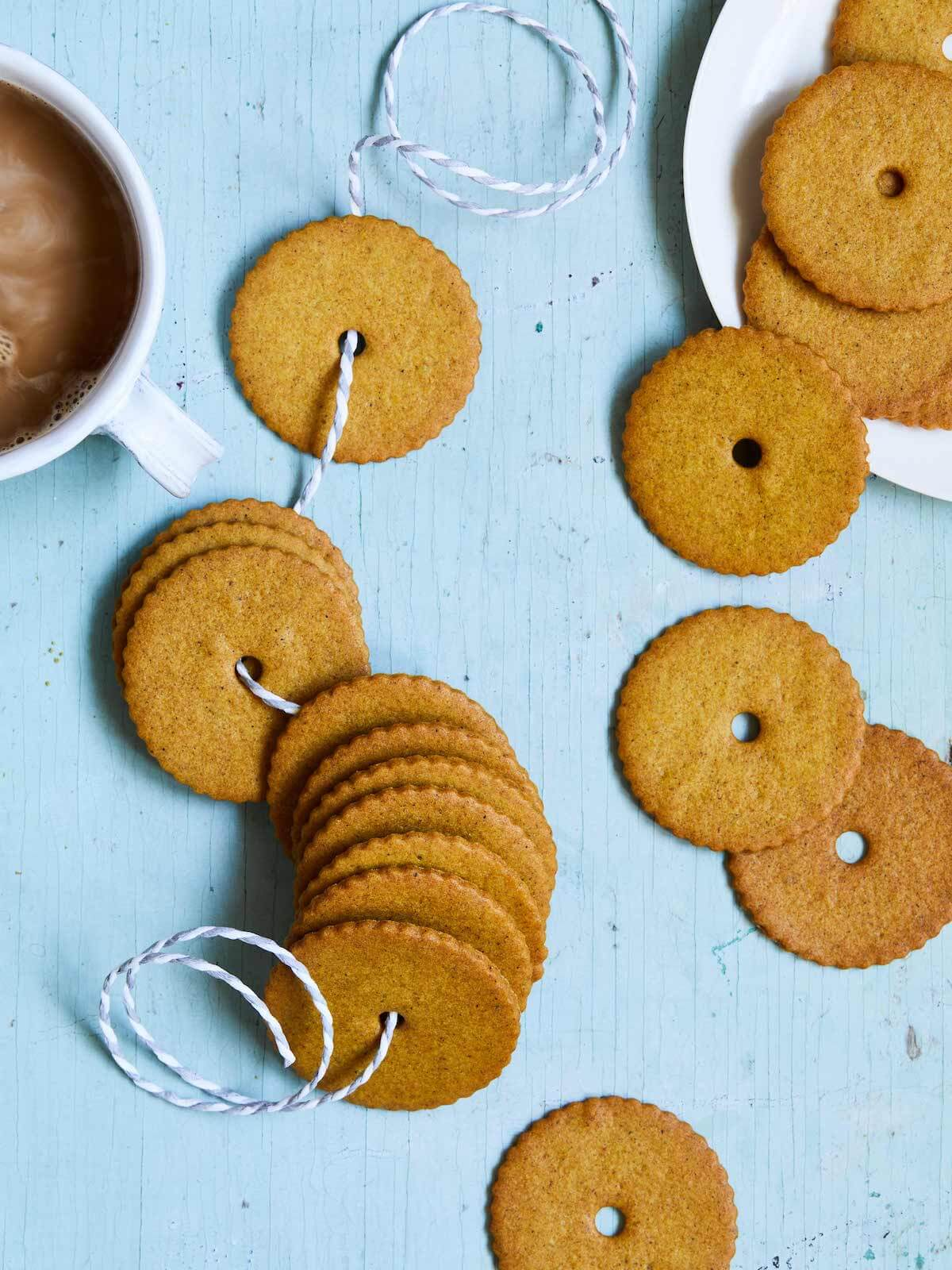 moravian spice cookies tied with a string