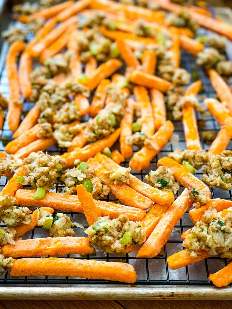 sweet potato fries and stuffing for poutine