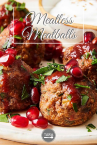 meatless meatballs with pomegranate and harissa sauce