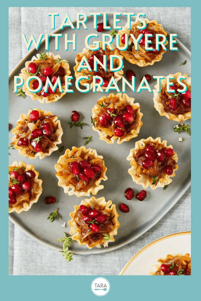 french onion phyllo tartlets with pomegranate