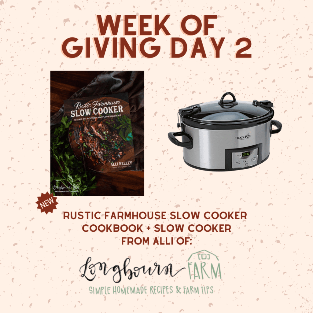 Image of slow cooker and rustic farmhouse cookbook giveaway