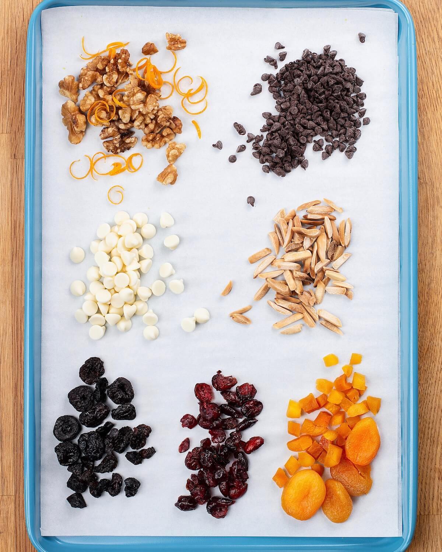 tray of ingredient variations for macaroon cookies