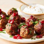 meatless meatballs with harissa and pomegranates