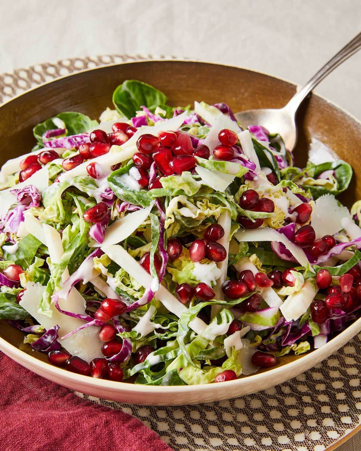 apple and brussel sprouts salad with pomegranates