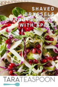 Close up of brussels sprouts and pomegranate salad in bowl pin