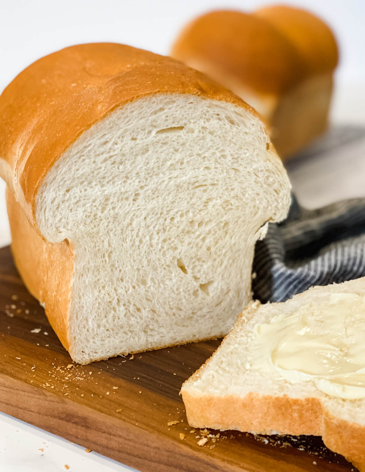 Sliced Japanese milk bread with butter