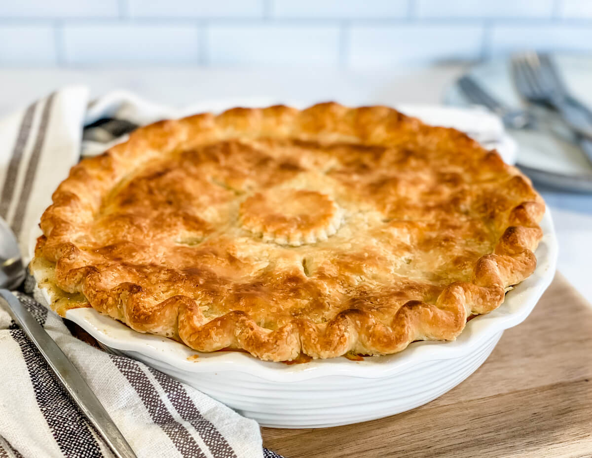 finished baked turkey pot pie on cutting board
