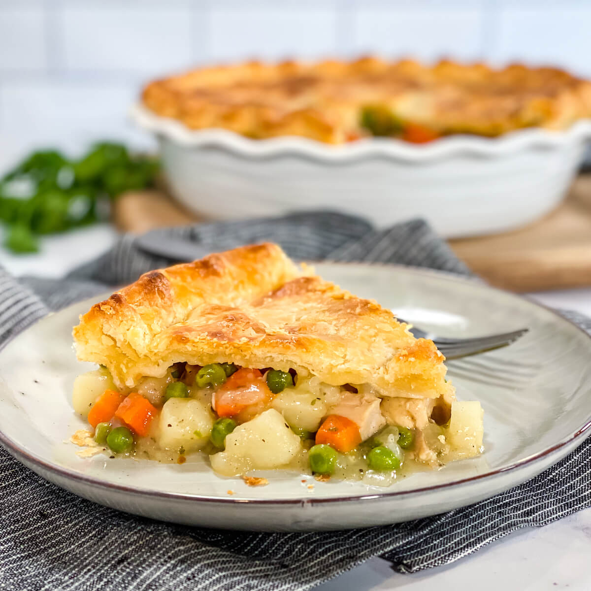 slice of pot pie on plate