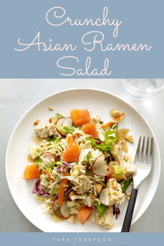 Crunchy Asian Ramen Salad on White Plate Pin