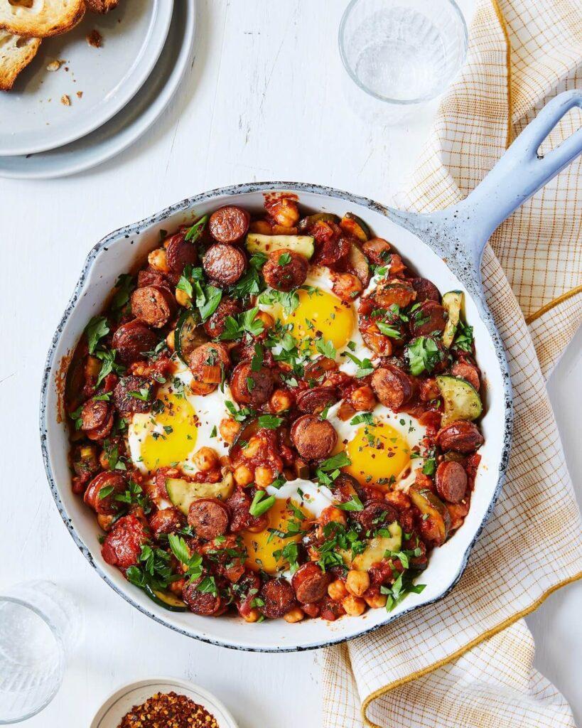 eggs in purgatory brunch dish with chorizo sausage