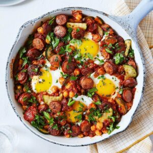 eggs in purgatory with vegetables and spicy sausage