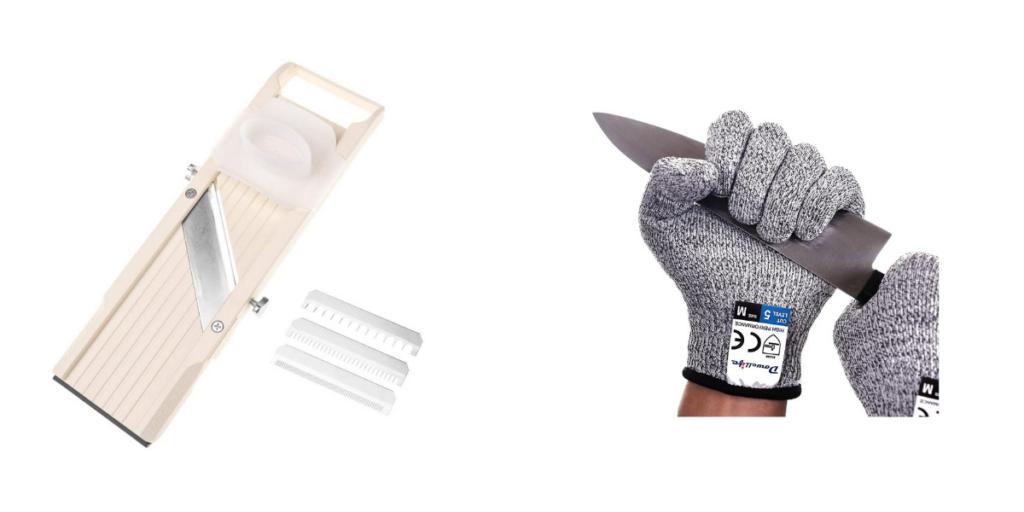 mandoline and protective glove