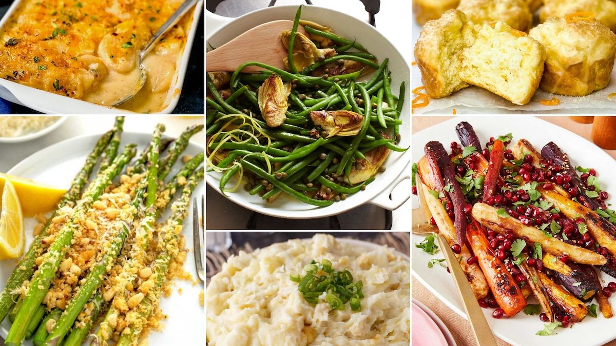 side dishes that go with ham dinner image collage