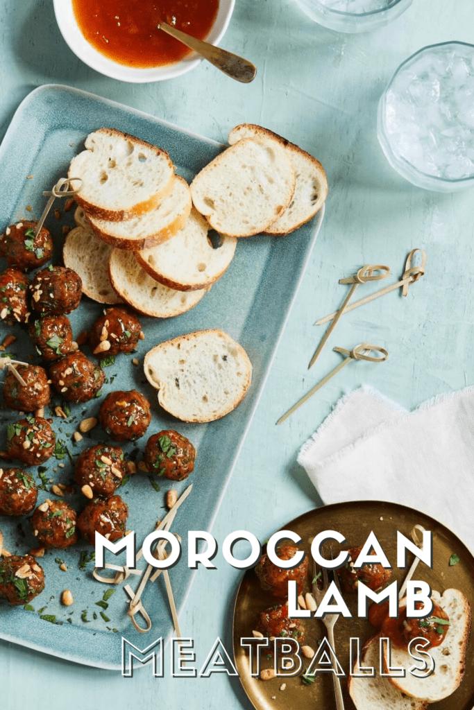 Moroccan Lamb Meatballs pin meatballs on plate